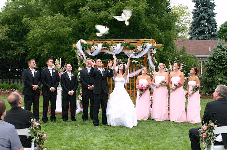Dove release in a wedding ceremony junglespirit