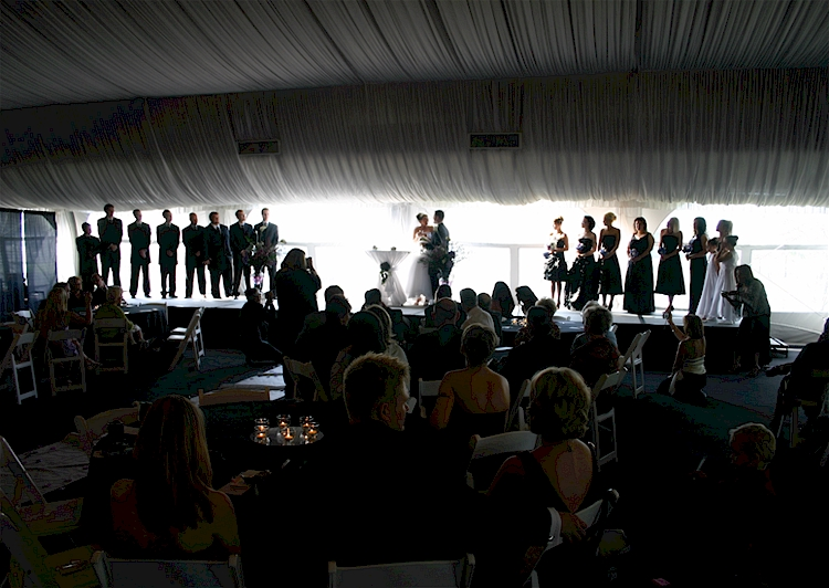 Backlit wedding ceremony
